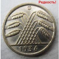 Германия. 10 рейхспфеннигов 1936 G . Редкая .97