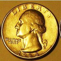 Квотер (25 центов) 1968 США