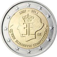 2 Евро Бельгия 2012 75-летие музыкального конкурса имени королевы Елизаветы UNC из ролла