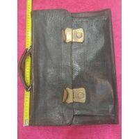 Портфель кожаный, детский шестидесятых годов