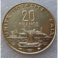 """Джибути. 20 франков 1999 год КМ#24 """"Корабль""""Порт"""""""