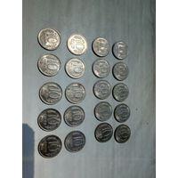 20 монет по 10 рублей 92, 93 год. ЛМД