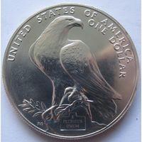 США 1 доллар 1984 XXIII летние Олимпийские Игры, Лос-Анджелес 1984 отметка монетного двора D - Денвер - серебро, пореже!