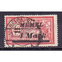 Мемель (Клайпеда) 2-й выпуск на марках Франции 1 м/40 с 1922 г