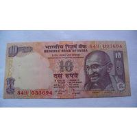 Индия 10 рупий Ганди. состояние 033694 (степлер). 1 распродажа
