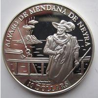 Соломоновы Острова. 10 долларов 1991. Серебро (382)