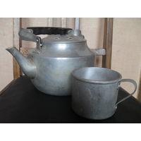 Советские алюминиевые чайник с кружкой.1966 г.