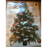 Наклейка елка к Новому году. Спешите приобрести. Размер листа 70 на 50.