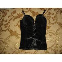 Шикарный корсет, чёрный, бархатный, со стразами и эмитацией шнуровки, размер 75 С (супер красивый и сексуальный)