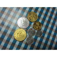 1,5,10,25,50 лаари1,2 руфии Мальдивы 2007,2008,2012 года (7 монет)