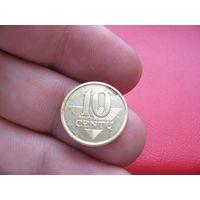 Литва 10 центов 1997 года
