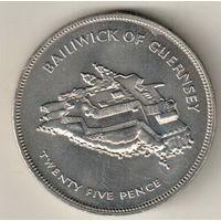 Гернси 25 пенс 1977 25 лет правления Королевы Елизаветы II