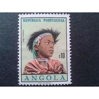 Ангола, колония Португалии 1961 женская прическа
