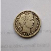США, 1/4 доллара Barber квотер (25 центов)- клеймо J.A.S. 1898 г., серебро