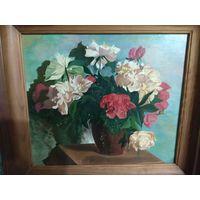 Картина цветы. 44 на 49 см по краям рамы. Холст, масло.