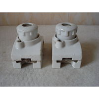 Два старых электрических патрона с предохранительными пробками 50A/500V, Австрия.