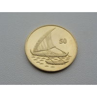 """Остров Рождества. 50 центов 2016 год  """"Полинезийская лодка"""""""