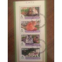 Соломоновы острова 2015. Коты (блок)