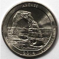 США 25 центов 2014 23 парк Арки/Arches