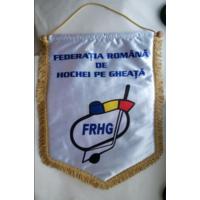 ХОККЕЙ - Большой официальный вымпел федерации хоккея Румынии (шёлк)