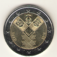 2 евро 2018 г. 100 лет прибалтийским республикам. Мешковая.