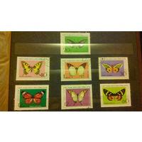 Насекомые, бабочки, фауна, марки, Вьетнам, 1976