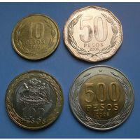 Чили. 4 монеты. 10-50-100-500 песо.
