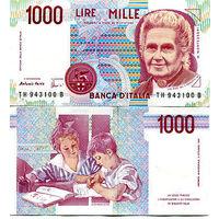 Италия 1000 лир образца 1990 года UNC p