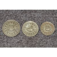 Тунис. Набор монет 100, 50 и 20 миллимов