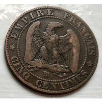 Франция 5 сантимов, 1854 BB - Страсбург 1-8-2