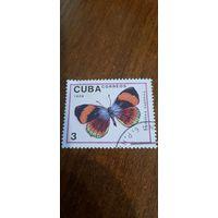 Куба 1989. Бабочки. Calithea saphhira. Марка из серии