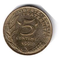 Франция. 5 сантимов. 1992 г. (соотношение сторон 180)