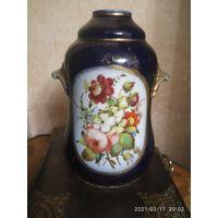 Фарфор ваза,плафон для лампы. 19 век. Живопись : Кобольд,золото.