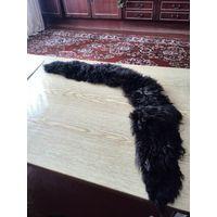 Длинный лохматый воротник из тёмно-коричневой овчины