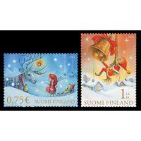 Рождество и Новый год, праздники, марки, Финляндия, 2014, фауна, олени, колокольчики, детские игрушки