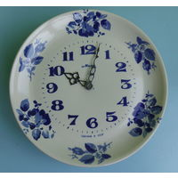 Часы настенные фарфоровые Гжель, редкость
