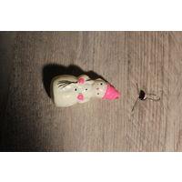 """Стеклянная ёлочная игрушка """"Снеговик"""", времён СССР, длина 9 см."""