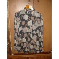 Рубашка в цветы 43/XL винтаж 90-е гг
