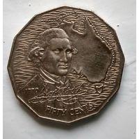Австралия 50 центов, 1970 200 лет австралийскому путешествию капитана Кука 3-7-7