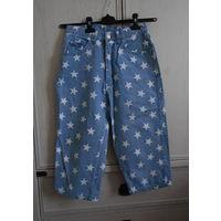 Бриджи джинсовые Звезды на голубом Хлопок Nix-Nix Р-р 44- 46 Высокая посадка