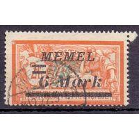 Мемель (Клайпеда) 2-й выпуск на марках Франции 6 м/2 фр 1922 г