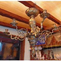 Старинная ,латунная ,свечная люстра 18 век !!! Супер подарок !!!