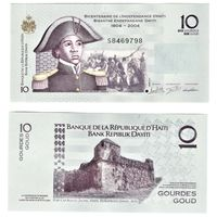10 гурдов Гаити 2004 год 200 лет Независимости Гаити. Портрет Саните Белер. Форт UNC