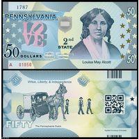 США - 50 Dollars - 2 штат Pennsylvania - 2014 - Polymer - UNC