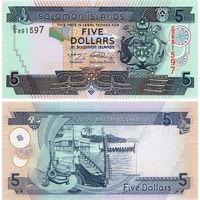 Соломоновы острова  5 долларов 2011 год  UNC