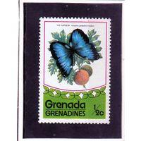 Гренада и гренадины. Ми-79.Бабочки. Обыкновенный Морфо (Morpho peleides).1975.