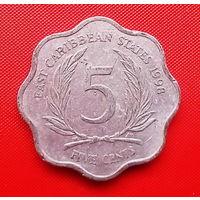 51-26 Восточные Карибы, 5 центов 1998 г. Единственное предложение монеты данного года на АУ