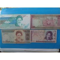 Иран. 10000,2000,1000 и 100 риалов одним лотом.