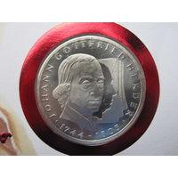 Монета-письмо Германия 10 марок 1994 250 лет со дня рождения Иоганна Готфрида Гердера - серебро