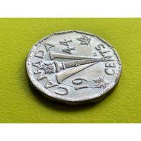 Канада. 5 центов 1944. Брак, раскол штемпеля реверса.